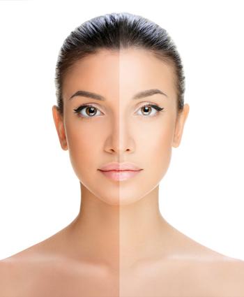 Braune Haut ohne UV-Strahlen